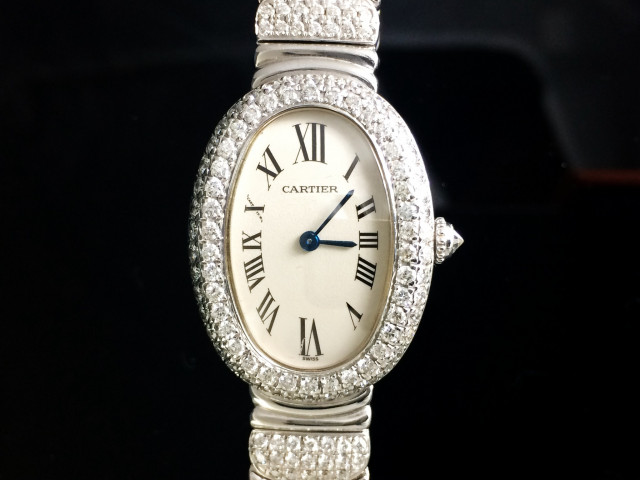 CARTIER CALIBRE BAIGNOIRE腕錶,小型款,加鑲鑽